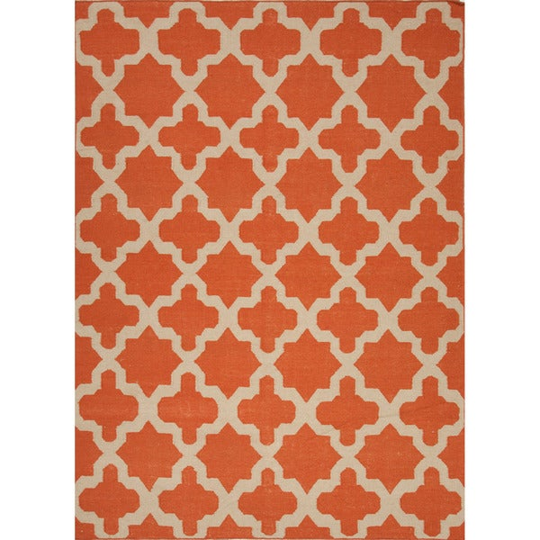 Handmade Flat Weave Geometric Pattern Red Orange Rug 8