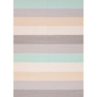 Handmade Flat Weave Stripe Pattern Gray/ Black Rug (2' x 3')