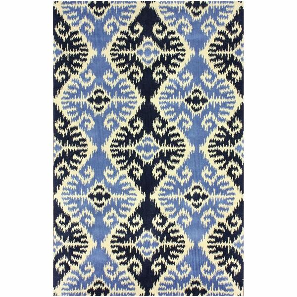 nuLOOM Handmade Modern Ikat Navy Blue Rug (7'6 x 9'6)