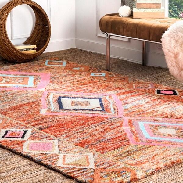 nuLOOM Multi Hand Tufted Wool Moroccan Area Rug (7'6 x 9'6) - 8' x 10'