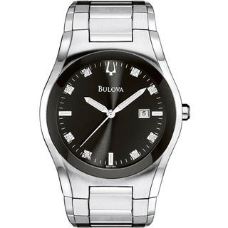 Bulova Men's Silvertone/ Black Crystal-accented Watch