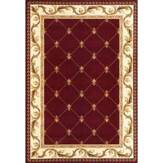Domani Elegance Red Fleur-De-Lis Rug - 7'7 x 10'10