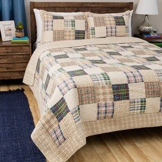 Greenland Home Oxford Oversized Reversible Cotton Quilt Set