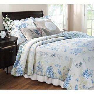 Greenland Home Fashions Coral Blue 5-piece Bonus Quilt Set