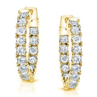 Auriya 14k Gold 3ct TDW 7/8 Diamond Hoop Earrings (H-I, SI1-SI2)