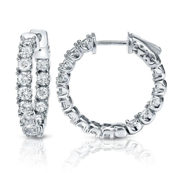 3415c4dba16a Auriya Medium Inside-Out Diamond Hoop Earrings 3 carat TW 14k Gold - 22 mm