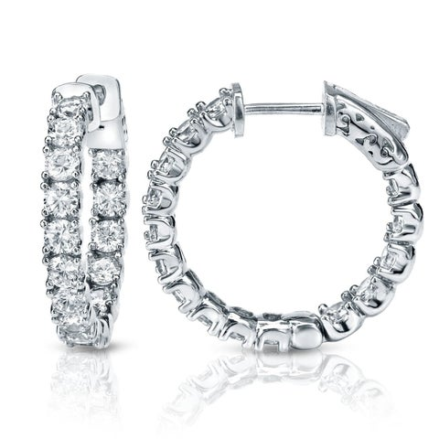 Auriya 14k Gold 3ct TDW Medium 7/8-inch Inside-Out Diamond Hoop Earrings