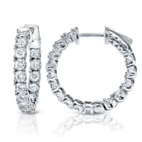 Auriya 14k Gold 3ct TDW Medium 7/8-inch Inside-Out Diamond Hoop Earrings