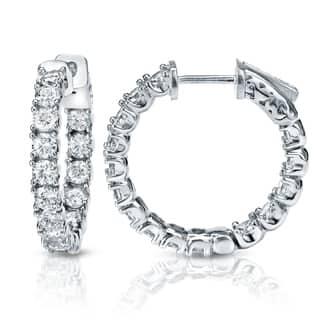 Auriya 14k Gold 3ct Tdw Medium 7 8 Inch Inside Out Diamond Hoop