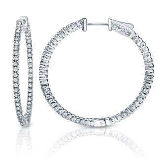 Auriya 14k White or Yellow Gold 3ct TDW 58mm Diamond Hoop Earrings