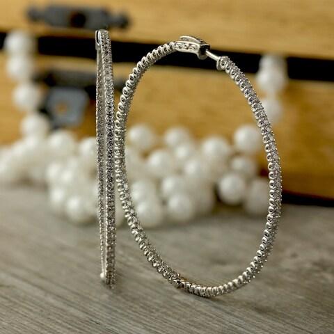 Auriya 14k Gold 3 Carat TDW Large 2.28-inch Inside-Out Diamond Hoop Earrings
