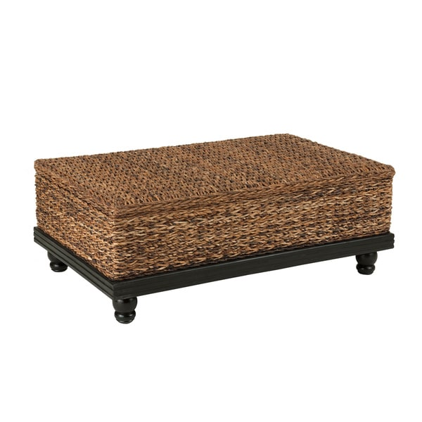 Attrayant Meticulously Woven Brown Abaca Coffee Table With Storage