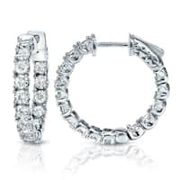 Auriya 14k Gold 3ct TDW Diamond Hoop Earrings