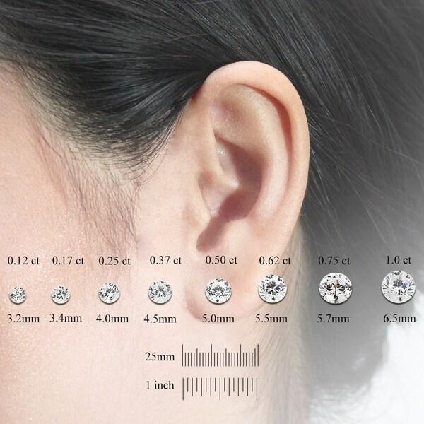 14k White Gold 4-Prong Basket Round Diamond Mens SINGLE STUD Earring 1//8-1ct,O.White,I2-I3 Screw-Back