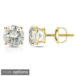 Auriya 14K Yellow Gold 1/2ct to 1ct TDW Clarity Enhanced Diamond Stud Earrings (J-K, SI1-SI2)