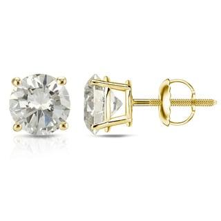14k Yellow Gold 1/2ct to 1ct TW Clarity Enhanced Diamond Stud Earrings