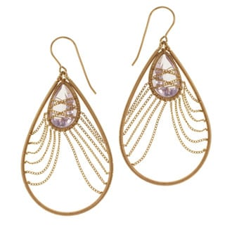 Michael Valitutti Gold over Silver Pink Amethyst Earrings