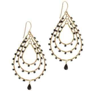 Michael Valitutti Gold over Silver Black Spinel Earrings
