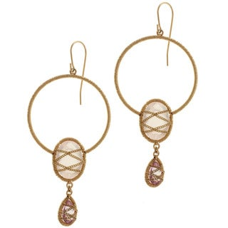 Michael Valitutti Gold over Silver Rose Quartz and Pink Topaz Earrings