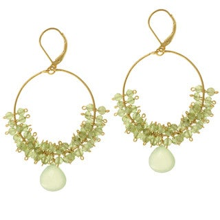 Michael Valitutti Gold over Silver Peridot and Aventurine Earrings