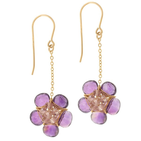 Michael Valitutti Gold over Silver Amethyst and Rose Quartz Flower Earrings