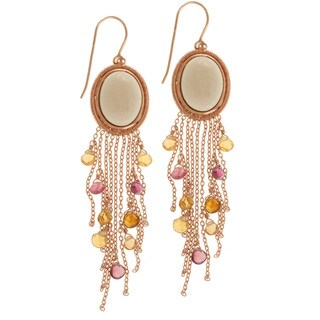 Michael Valitutti Rose Gold over Silver Smoky Quartz and Tourmaline Earrings