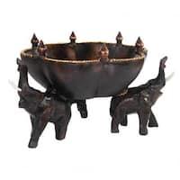 Handmade 8.25-inch Triumphant Elephants Carved Rain Tree Wooden Bowl (Thailand)