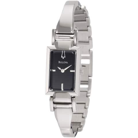 Bulova Women's 'Dress ' Silvertone Stainless Steel Black Dial Quartz Watch