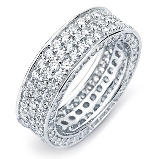 Sterling Silver Cubic Zirconia 3-row Engagement-style Eternity Band (More options available)