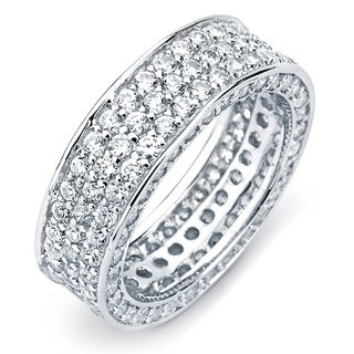 Link to Sterling Silver Cubic Zirconia 3-row Engagement-style Eternity Band Similar Items in Rings