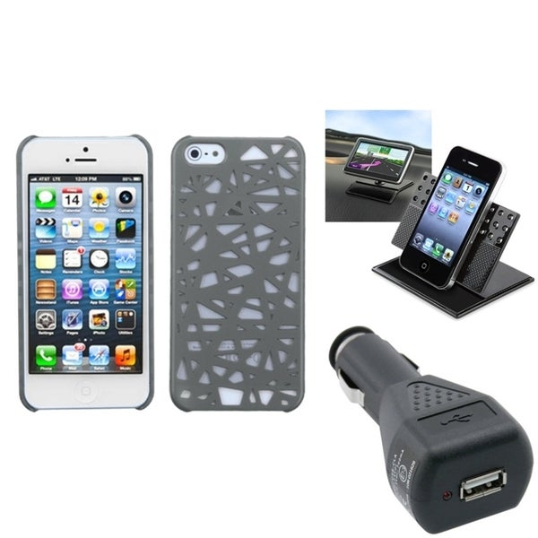 INSTEN Car Charger/ Dashboard Holder/ Phone Case Cover for Apple iPhone 5