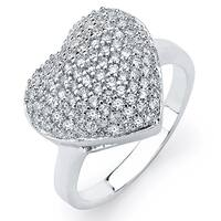 Sterling Silver Cubic Zirconia Pave Heart Ring