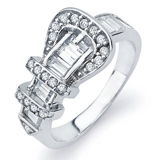 Sterling Silver Cubic Zirconia Buckle Ring - White