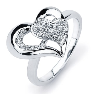 Sterling Silver Cubic Zirconia Heart Cut-out Ring