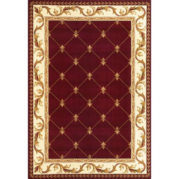 Domani Elegance Red Fleur-De-Lis Rug (5'3 x 7'7)