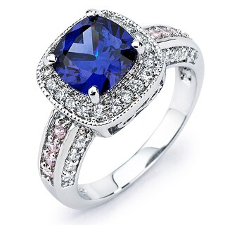 Sterling Silver Blue, Pink and White Cubic Zirconia Engagement-style Ring (5 options available)
