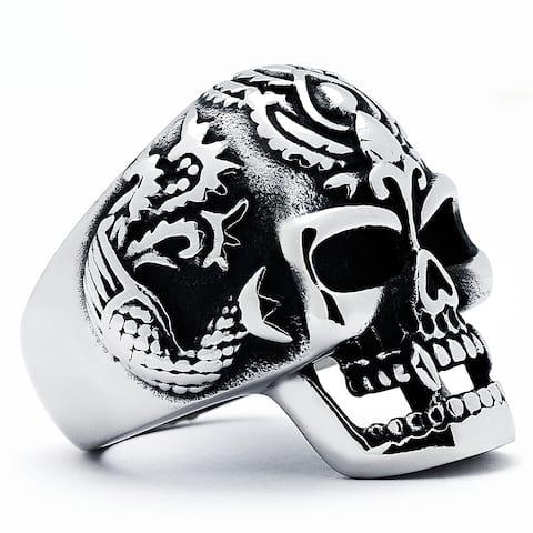 Stainless Steel Men's Vintage Cast Skull Ring