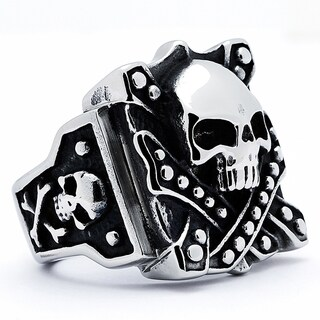 Stainless Steel Men's Vintage Skull Biker Ring (3 options available)
