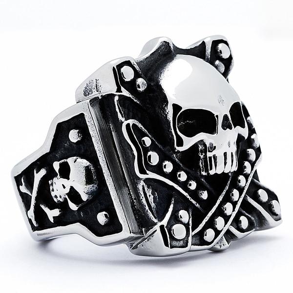 Stainless Steel Mens Vintage Skull Biker Ring Free Shipping On