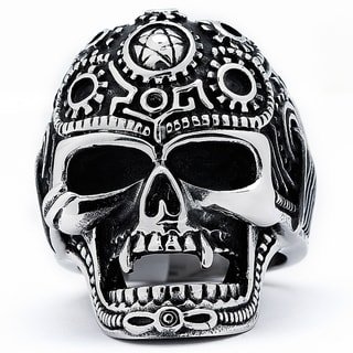 Stainless Steel Men's Vintage Cast Skull Biker Ring