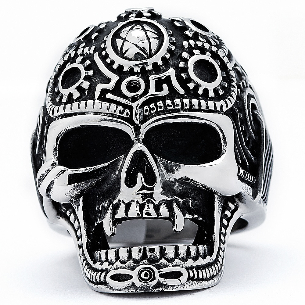 Stainless Steel 2 Color Cluster Skull Biker Ring