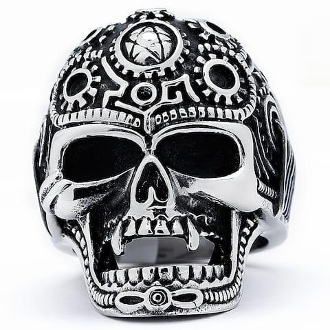 Stainless Steel Men's Vintage Cast Skull Biker Ring
