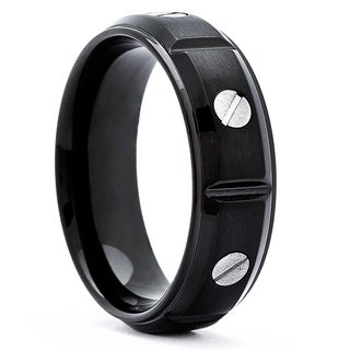 Black-plated Stainless Steel Men's Screw Design Wedding Band