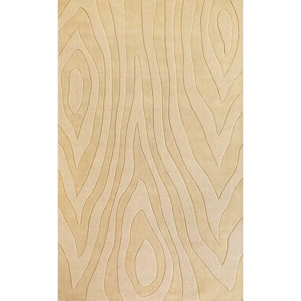 Domani Symmetry Wood Grains Ivory Wool Rug (5' x 8')