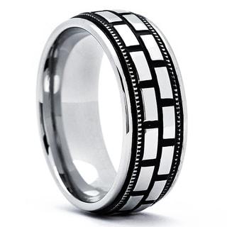 Stainless Steel Men's Antiqued Flat Top Ring