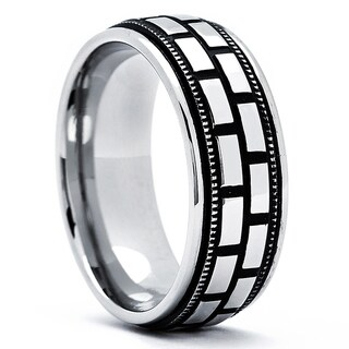 Stainless Steel Men's Antiqued Flat Top Ring