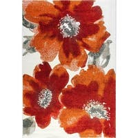 Eternity Floral Ivory Red Orange Rug - 7'10 x 11'2