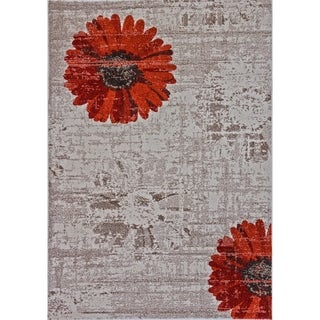 Eternity Daisy Ivory Red Rug (3'11 x 5'7)