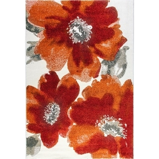 Eternity Floral Ivory Red Rug (6'7 x 9'6) - 6'7 x 9'6