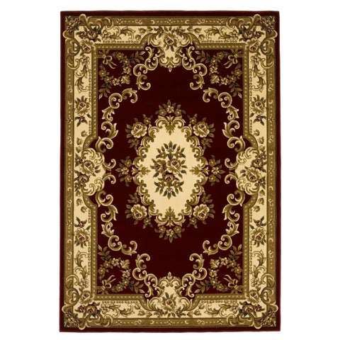 Domani Elegance Aubusson Red/Ivory Rug - 7'7 x 10'10